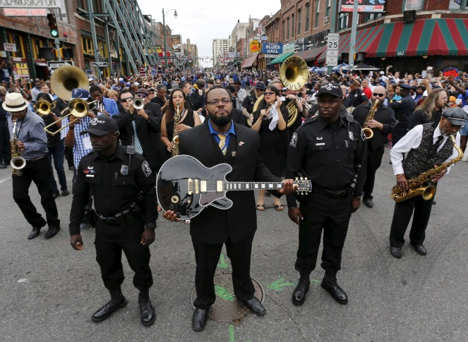 Tribute to guitar legend B.B. King in procession down Beal street in Memphis