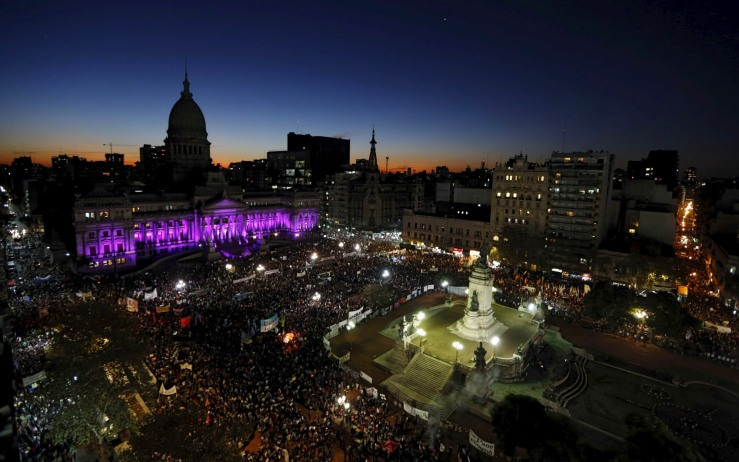 Demonstrators gather outside the Congress to demand policies to prevent femicides in Buenos Aires