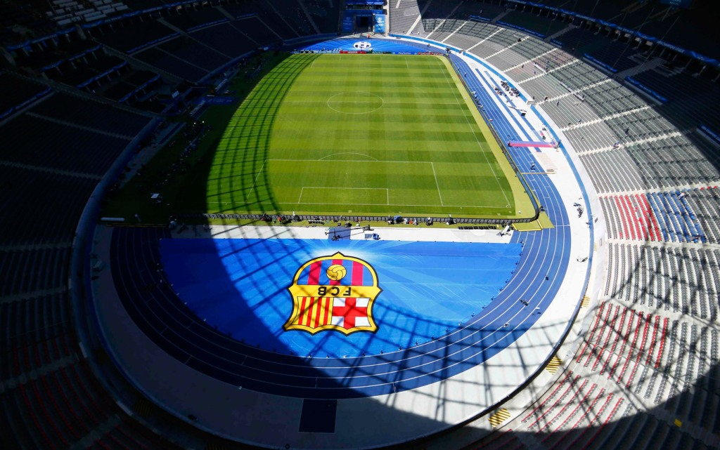 General view of the Barcelona soccer club emblem on the pitch of Olympic stadium in Berlin