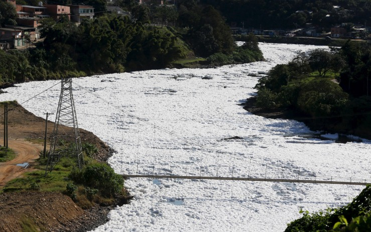 A general view of the polluted Tiete River filled with foam in Sao Paulo
