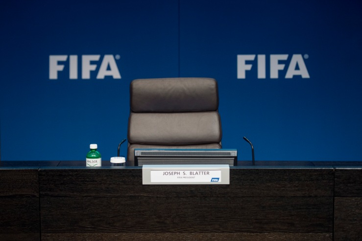 The empty chair of FIFA President Sepp Blatter is pictured prior to a press conference at the FIFA headquarters in Zurich, Switzerland, Tuesday, June 2, 2015. Sepp Blatter says he will resign from his position amid corruption scandal and is promising to call for fresh elections to choose a successor. (Ennio Leanza/Keystone via AP)