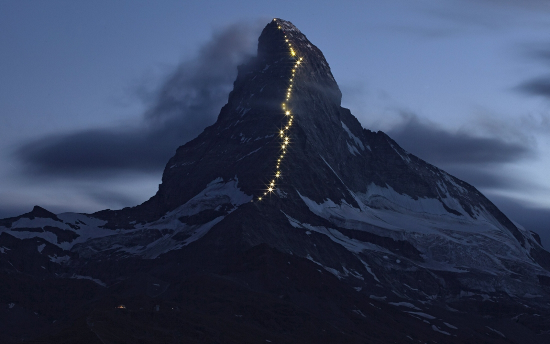 Solar powered lights are pictured along the Hoernli ridge on the Matterhorn in Zermatt