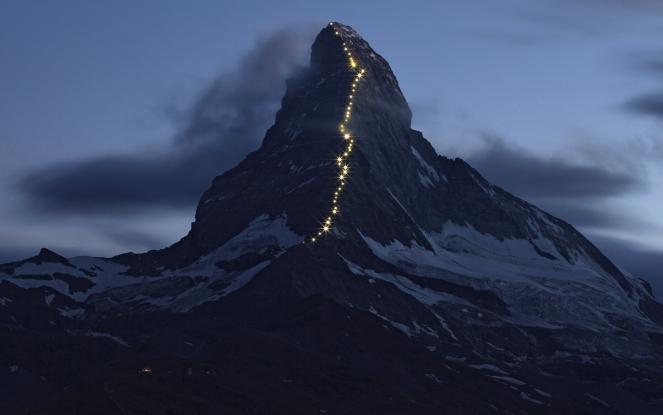 Solar powered lights are pictured along the Hoernli ridge on the Matterhorn in Zermatt