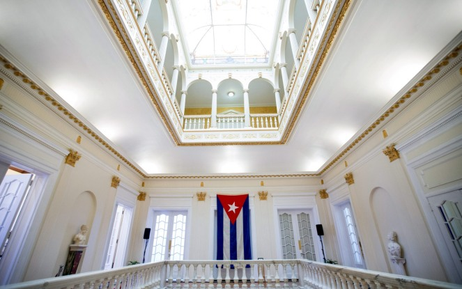 The last Cuban flag that was lowered from the Cuban Embassy in Washington on January 3, 1961, is seen hanging in the new embassy in Washington