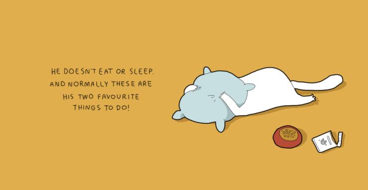 Ele não come ou dorme. E normalmente estas são as suas duas coisas favoritas!