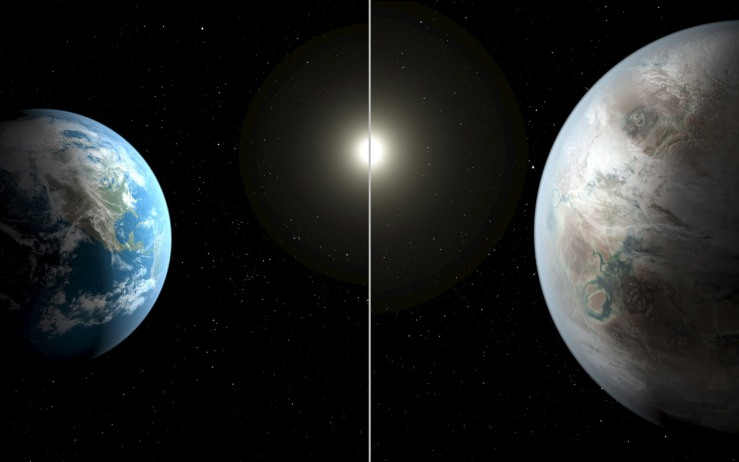 A NASA illustration compares Earth to a planet beyond the solar system that is a close match to Earth called Kepler-452b