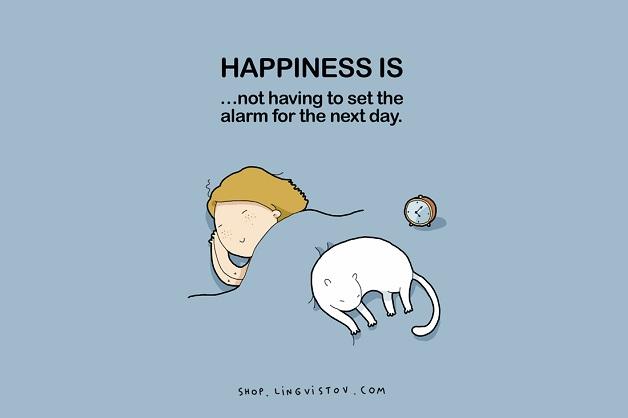 Felicidade é não ter que ajustar o alarme para o dia seguinte.